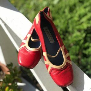 Barneys New York Red and Tan Leather Slip on Shoes